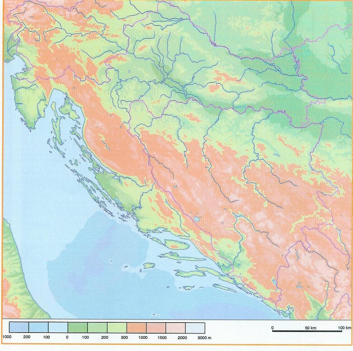 Karta Hrvatske Reljef Karta